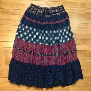 Carole Little Tiered Mixed Tartan Plaid Maxi Skirt